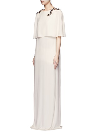 Figure View - Click To Enlarge - Lanvin - Jewelled cape overlay crepe gown