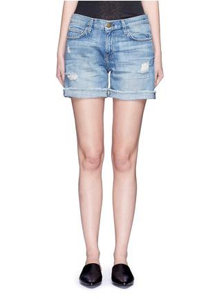 Detail View - Click To Enlarge - CURRENT/ELLIOTT - 'The Boyfriend' distressed rolled denim shorts