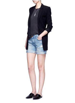 Figure View - Click To Enlarge - CURRENT/ELLIOTT - 'The Boyfriend' distressed rolled denim shorts