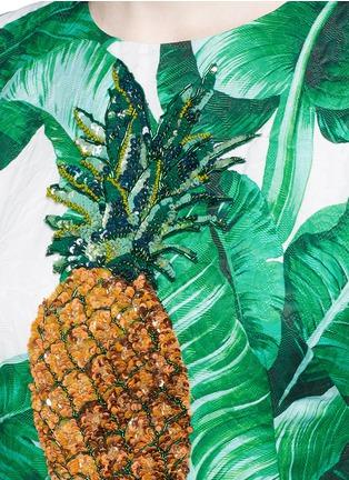Detail View - Click To Enlarge - Dolce & Gabbana - Pineapple embellished banana leaf print brocade dress