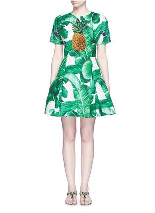 Main View - Click To Enlarge - Dolce & Gabbana - Pineapple embellished banana leaf print brocade dress