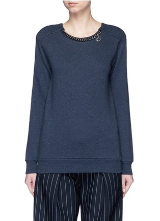 Main View - Click To Enlarge - Stella McCartney - 'Falabella' chain cotton French terry sweater