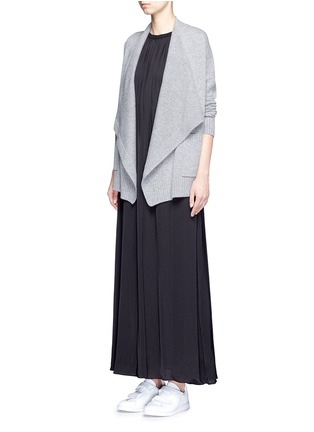 Figure View - Click To Enlarge - VINCE - Drape front wool-cashmere cardigan