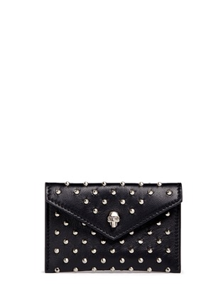Main View - Click To Enlarge - Alexander McQueen - Skull stud envelope leather card holder