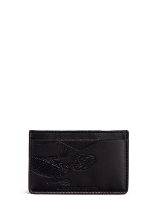Main View - Click To Enlarge - Alexander McQueen - Lizard skeleton debossed leather card holder