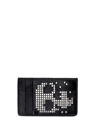 Figure View - Click To Enlarge - Alexander McQueen - Stud pixel skull leather cardholder