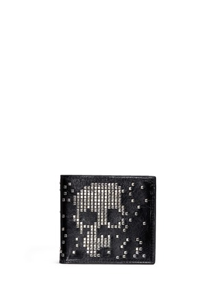 Main View - Click To Enlarge - ALEXANDER MCQUEEN - Stud pixel skull leather bifold wallet