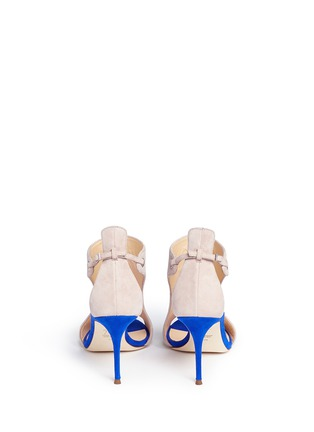 Back View - Click To Enlarge - Giuseppe Zanotti Design - 'Caitie' colourblock mirror band suede sandals