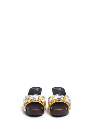 Front View - Click To Enlarge - Giuseppe Zanotti Design - 'Gladis' jewelled mirror leather clog sandals