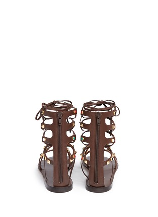 Back View - Click To Enlarge - Valentino - 'Rockstud Rolling' cabochon leather gladiator sandals