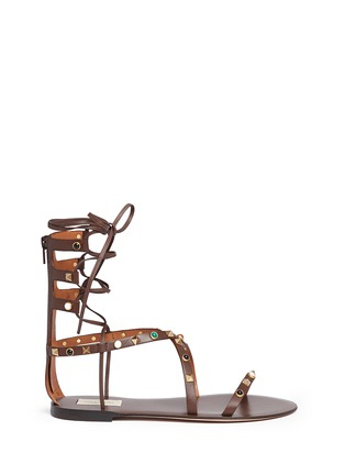 Main View - Click To Enlarge - Valentino - 'Rockstud Rolling' cabochon leather gladiator sandals