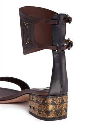 Detail View - Click To Enlarge - VALENTINO - Stud tribal relief leather sandals