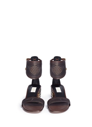 Front View - Click To Enlarge - VALENTINO - Stud tribal relief leather sandals