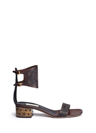 Main View - Click To Enlarge - VALENTINO - Stud tribal relief leather sandals