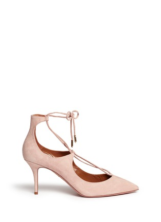 Main View - Click To Enlarge - Aquazzura - 'Christy' lace-up suede pumps