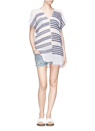 Detail View - Click To Enlarge - Lemlem - 'Zare' stripe split cotton tunic cover-up