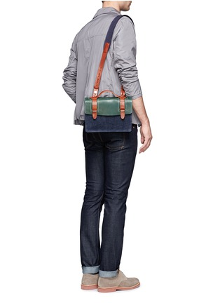 Figure View - Click To Enlarge - SEVENTY EIGHT PERCENT - Zazie leather denim mini satchel