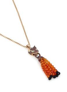 John Hardy Diamond sapphire chaelcedony 18k yellow gold macan beaded tassel necklace