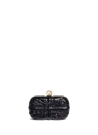 Back View - Click To Enlarge - Alexander McQueen - 'Britannia' Union Jack skull leather box clutch