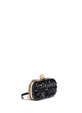Front View - Click To Enlarge - Alexander McQueen - 'Britannia' Union Jack skull leather box clutch