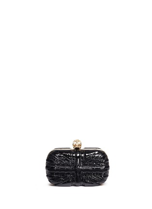 Main View - Click To Enlarge - Alexander McQueen - 'Britannia' Union Jack skull leather box clutch
