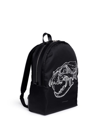 Front View - Click To Enlarge - Alexander McQueen - Lion skull print nylon backpack