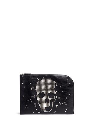 Main View - Click To Enlarge - Alexander McQueen - Pixel skull stud zip pouch