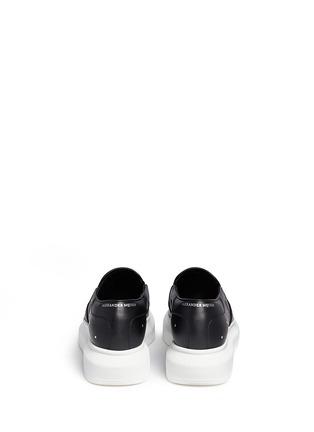 Back View - Click To Enlarge - Alexander McQueen - 'Larry' stud pixel skull platform leather skate slip-ons