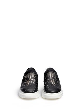 Front View - Click To Enlarge - ALEXANDER MCQUEEN - Stud pixel skull platform leather skate slip-ons