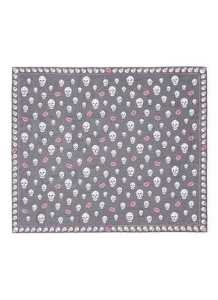 Main View - Click To Enlarge - Alexander McQueen - 'Skull Kisses' logo lip print silk chiffon scarf
