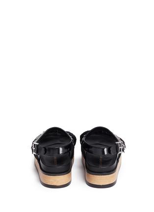 Back View - Click To Enlarge - Alexander McQueen - Stud patent leather kiltie wood platform sandals