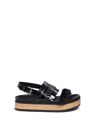 Main View - Click To Enlarge - Alexander McQueen - Stud patent leather kiltie wood platform sandals