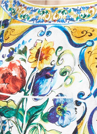 Detail View - Click To Enlarge - Dolce & Gabbana - Maiolica print open back cotton dress
