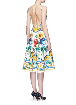 Back View - Click To Enlarge - Dolce & Gabbana - Maiolica print open back cotton dress