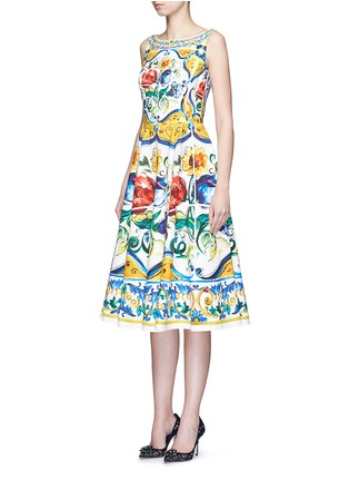 Front View - Click To Enlarge - Dolce & Gabbana - Maiolica print open back cotton dress