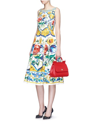 Figure View - Click To Enlarge - Dolce & Gabbana - Maiolica print open back cotton dress