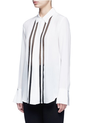 Front View - Click To Enlarge - Theory - 'Alwinth' lace insert pleated silk shirt