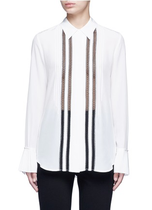 Main View - Click To Enlarge - Theory - 'Alwinth' lace insert pleated silk shirt