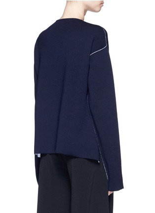 Back View - Click To Enlarge - Ports 1961 - Contrast seam side split wool sweater
