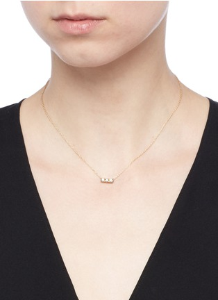 Detail View - Click To Enlarge - SHIHARA - 'Three Stone' diamond 18k yellow gold necklace