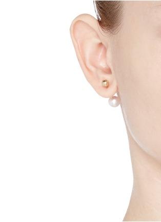 Figure View - Click To Enlarge - Sophie Bille Brahe - 'Elipse Simple' pearl 14k gold single earring