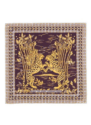 Main View - Click To Enlarge - Valentino - Tribal cheetah print silk twill scarf