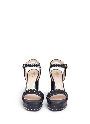 Front View - Click To Enlarge - Lanvin - Stud strass colourblock leather platform sandals