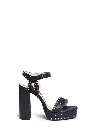 Main View - Click To Enlarge - Lanvin - Stud strass colourblock leather platform sandals