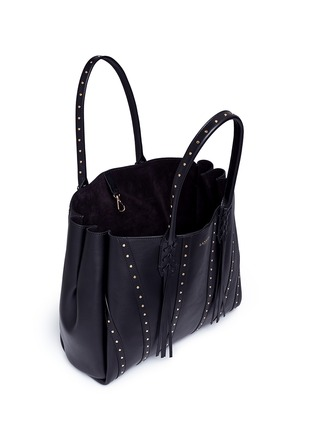 Detail View - Click To Enlarge - Lanvin - ''Small Shopper' stud tassel leather tote bag