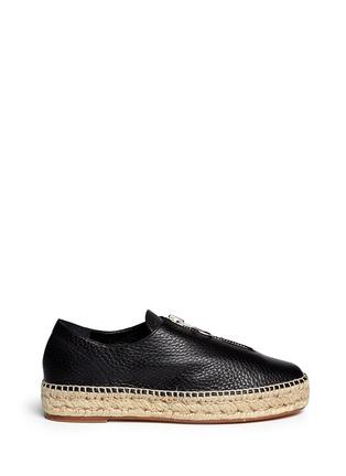 Main View - Click To Enlarge - Alexander Wang  - Devon' zip leather espadrille sneakers