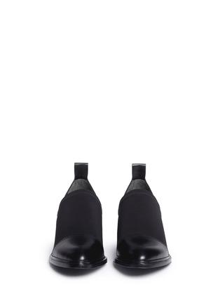 Front View - Click To Enlarge - Alexander Wang  - 'Kori' neoprene vamp cutout heel leather booties