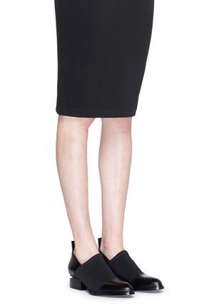 Figure View - Click To Enlarge - Alexander Wang  - 'Kori' neoprene vamp cutout heel leather booties
