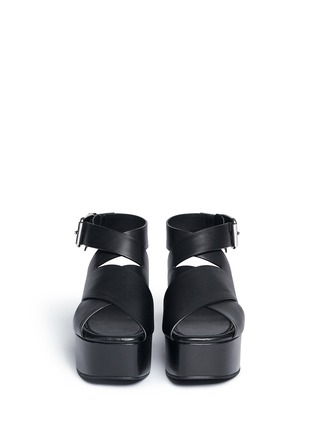 Front View - Click To Enlarge - Alexander Wang  - 'Rudy' crisscross leather platform sandals