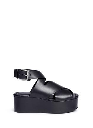 Main View - Click To Enlarge - Alexander Wang  - 'Rudy' crisscross leather platform sandals